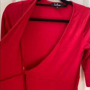 lululemon athletica Dresses - Lulu's twirl worthy wrap dress in red, size small